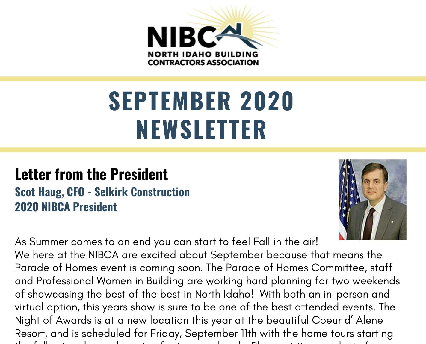 September Newsletter NIBCA